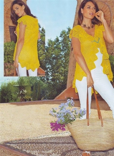 Вязание крючком: жилет желтый.