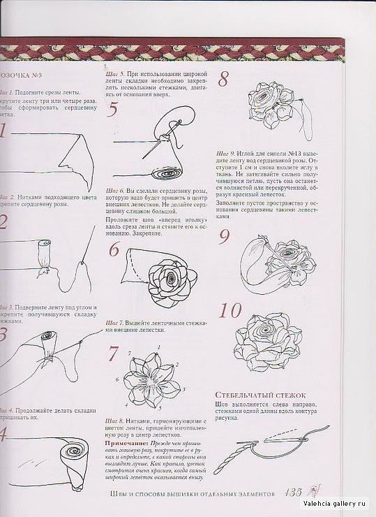 Вышивка лентами для начинающих розы схемы 163