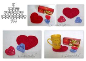 Приближается праздник всех влюбленных - День Святого Валентина.  Предлагаю связать сердечки -подставки под горячую...