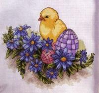 """Схема вышивки  """"Цыпленок """": таблица цветов."""
