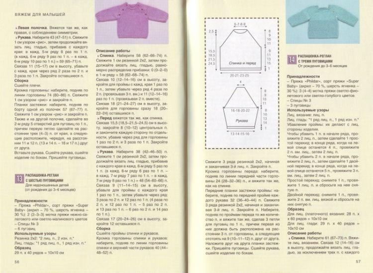Вязание регланом для детей схемы