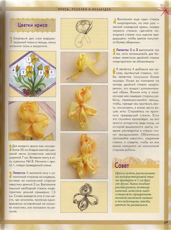 Часть 13. мастер-класс вышивки лентой(хризантемы). мк вышивка лентой(ирисы) .