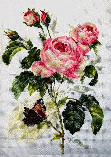 """Схемы вышивки. розы.  Близнецы. цветы.  Теги. бабочка.  Гамма, 60 цветов.  Ветка розы.  Портал  """"Вышивка крестом """"."""