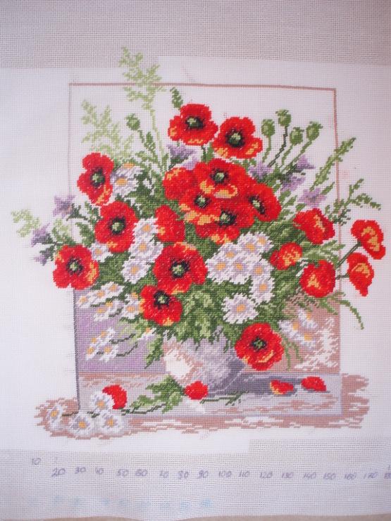 """Схема вышивки  """"Букет """": таблица цветов."""