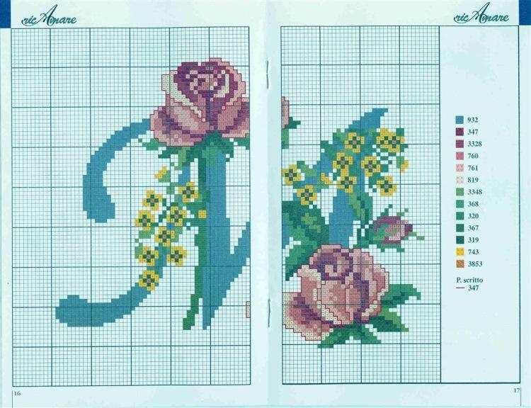 Схема вышивки крестом алфавита с цветами