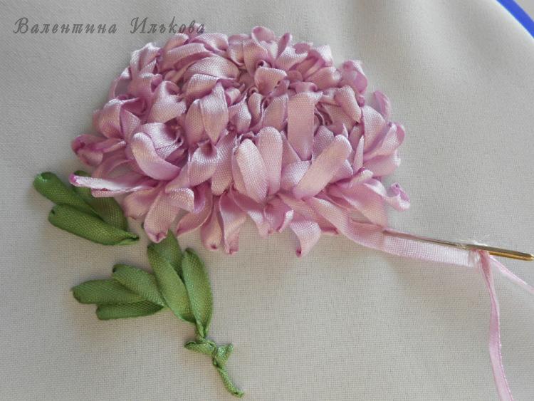 Вышивка ленты хризантемы мастер класс