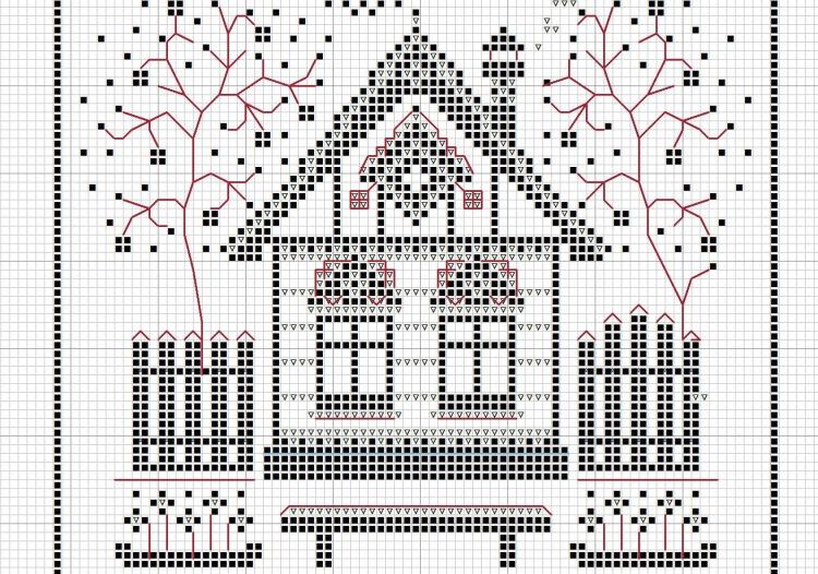Схемы для вышивки домики монохром