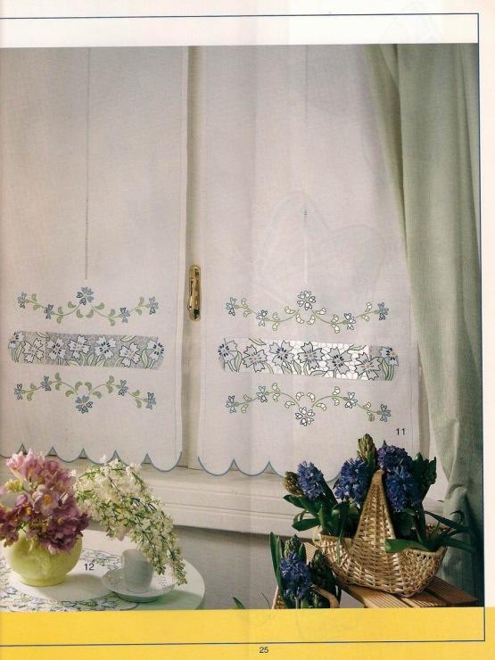 Вышитые шторы на кухню своими руками 60