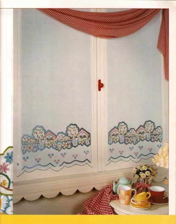 Вышитые шторы на кухню своими руками 55