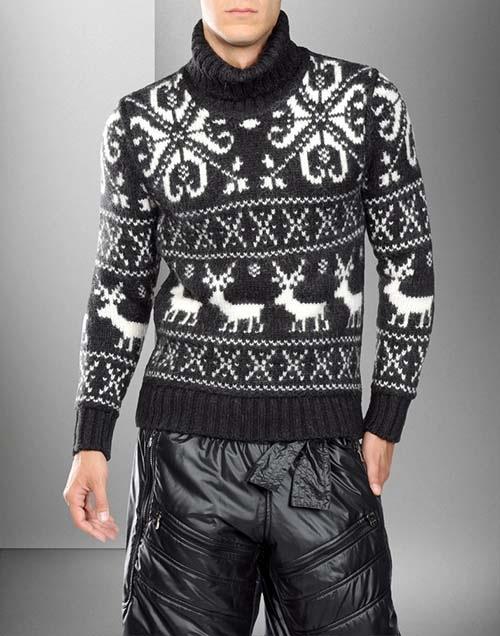 Описание: связать мужской свитер с оленями.