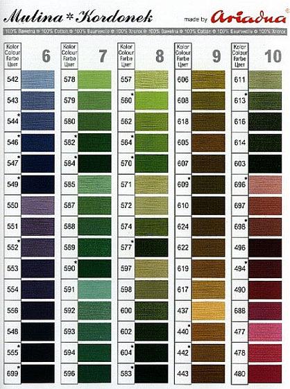 """Rufina, это эти ниточки?  Вот что я нашла.  Таблица соответствия цветов мулине  """"Ариадна """" (Польша) ."""
