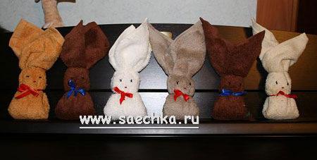 Зайцы из полотенец своими руками