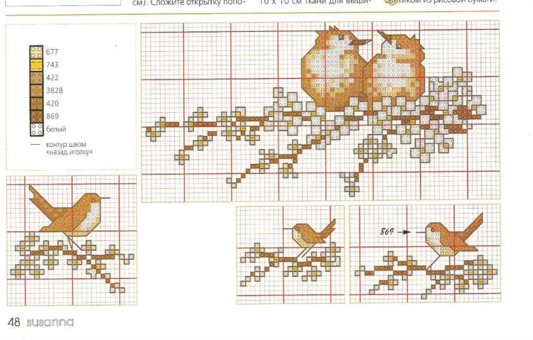 Схема для вышивки крестом под