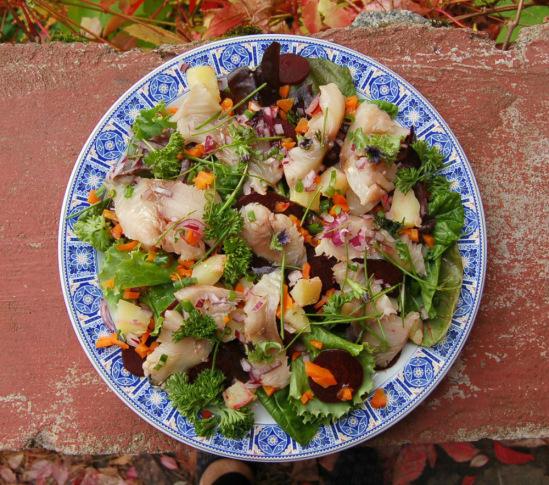 Вкусный салат с копченой рыбой рецепт с