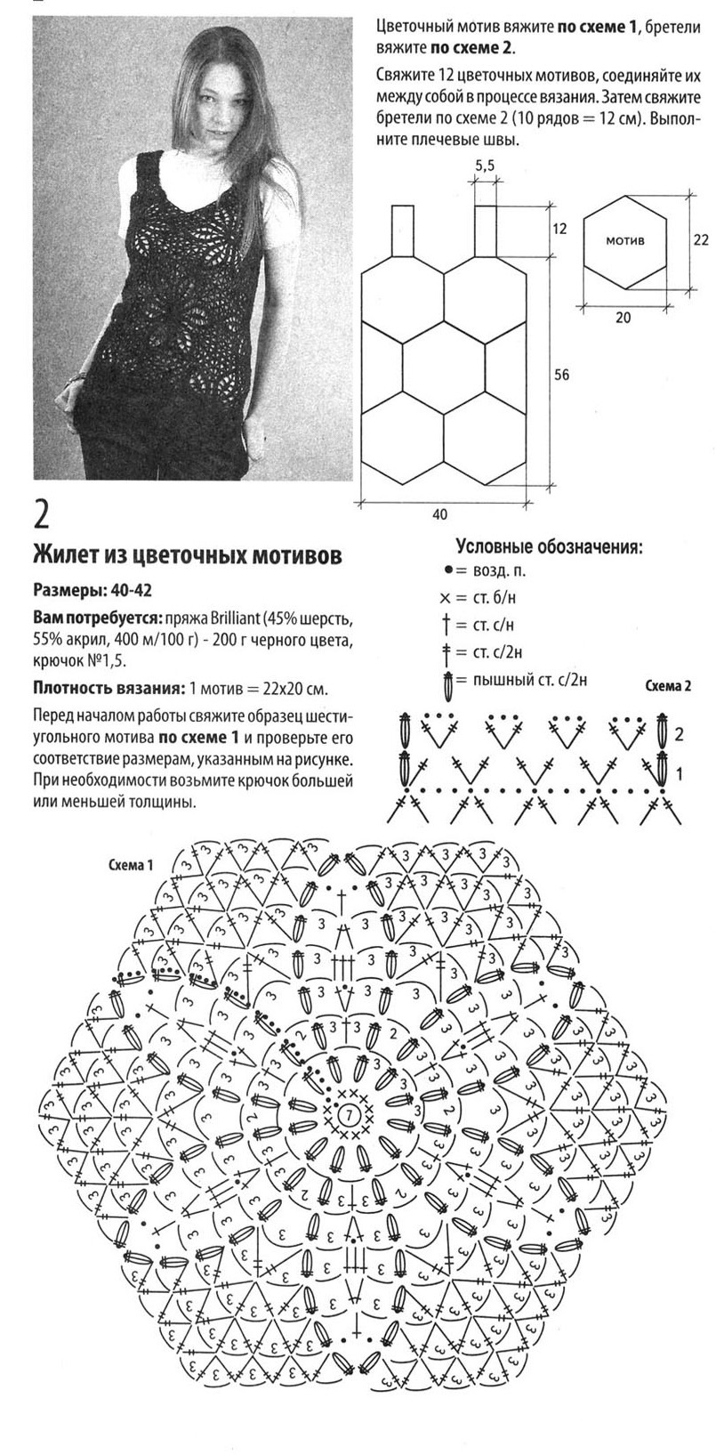 Вязание крючком схемы жилетов из мотивов крючком