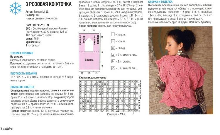 Ажурное вязание спицами для детских кофточек
