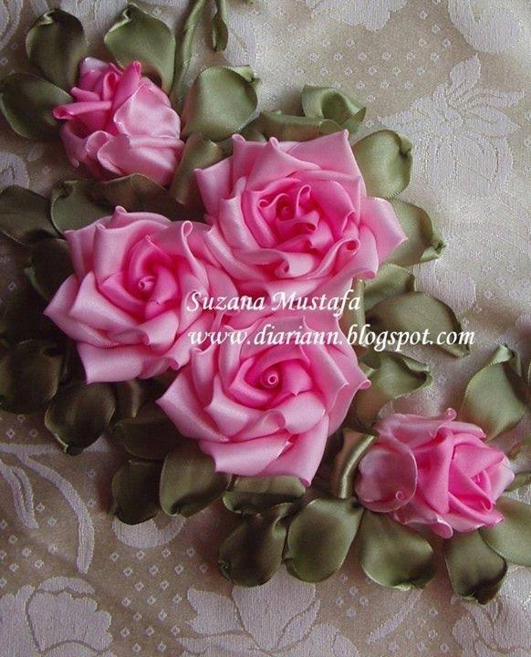 Цветы атласных лент пошаговая инструкция