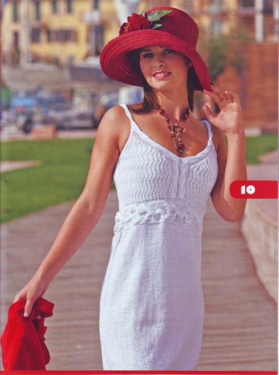 Летнее платье-сарафан солнечного цвета связано крючком. . . Белое платье связано спицами 4 и крючком