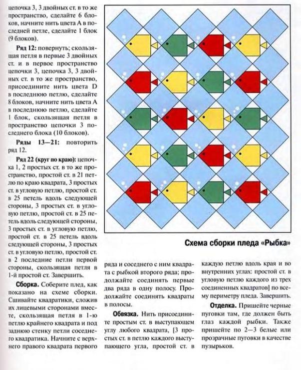Вязание крючком по диагонали схемы пледы 91