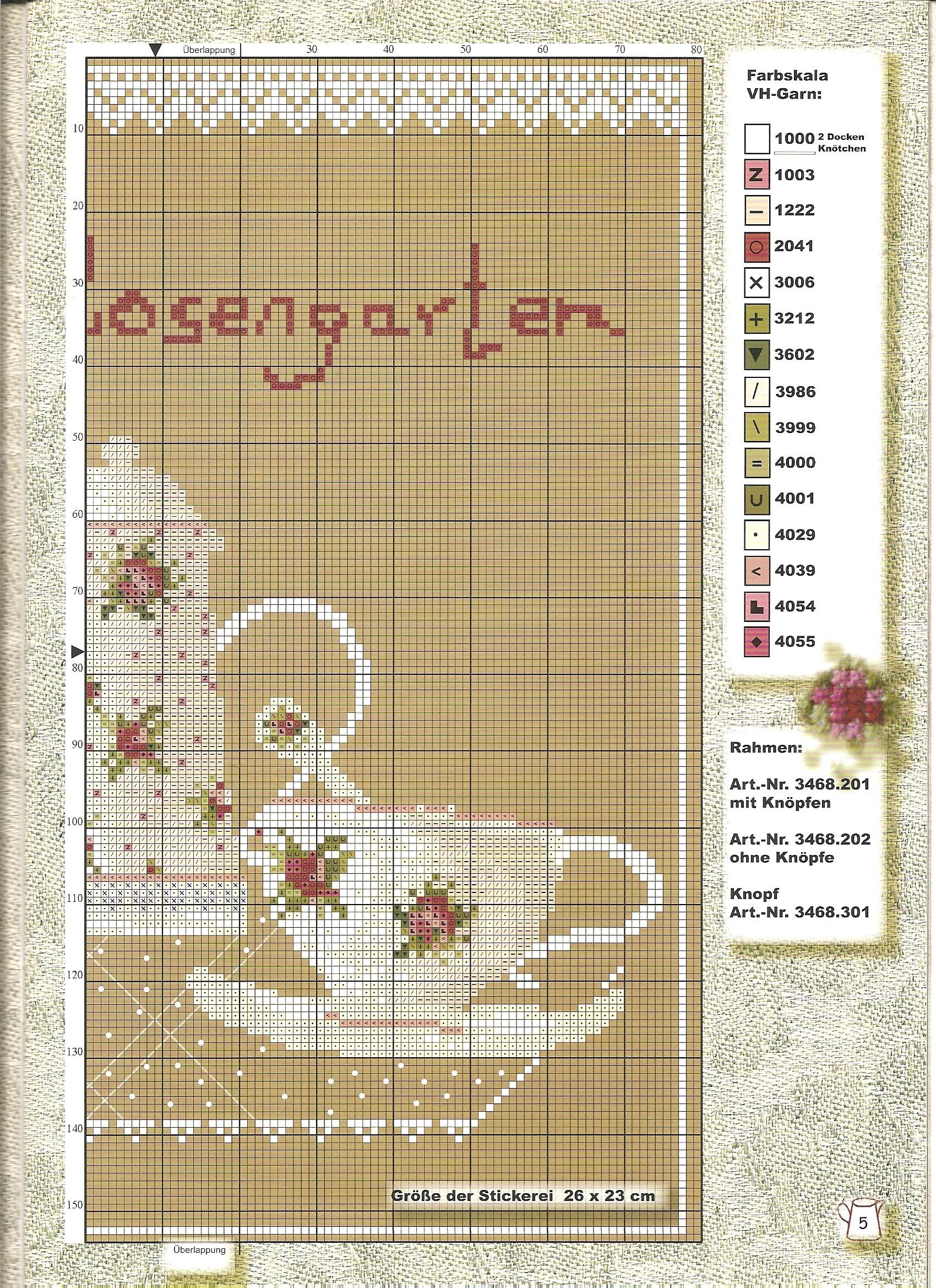 pretty picture with tea cups, embroidered cross